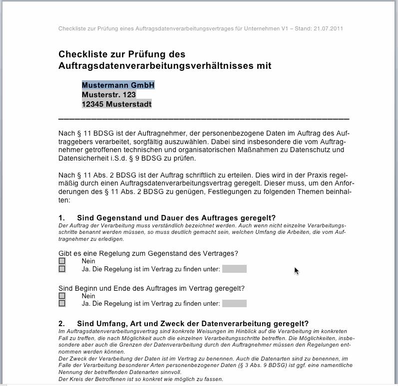 Checkliste zur Prüfung eines Auftragsdatenverarbeitungsvertrages