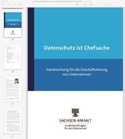 Broschüre: Datenschutz ist Chefsache (LfD Sachsen-Anhalt)