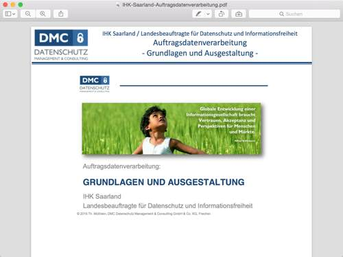 """Vortragsfolien von Thomas Müthlein """"Auftragsdatenverarbeitung: Grundlagen und Ausgestaltung"""""""